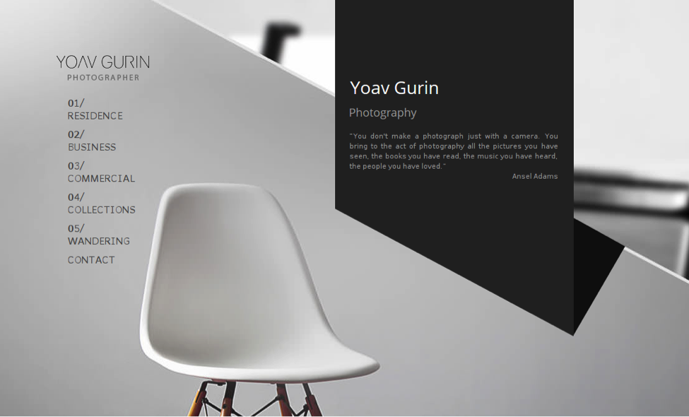 yoav gurin thiet ke website minimal