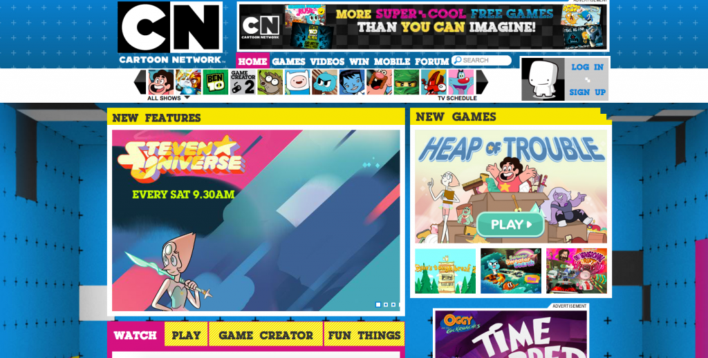 cartoon network india header trong thiet ke web