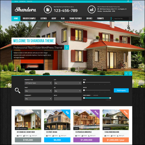 shandora real estate wordpress theme thiet ke web bat dong san