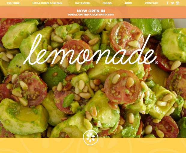 restaurants lemonade thiet ke web nha hang