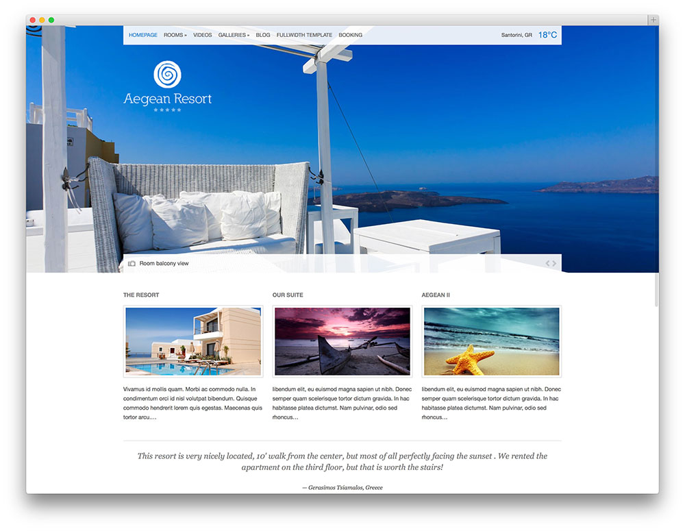aegean resort theme thiet ke web khach san