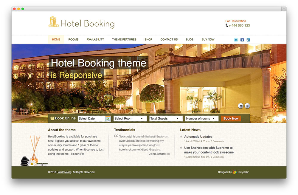 hotel booking wordpress template thiet ke web khach san