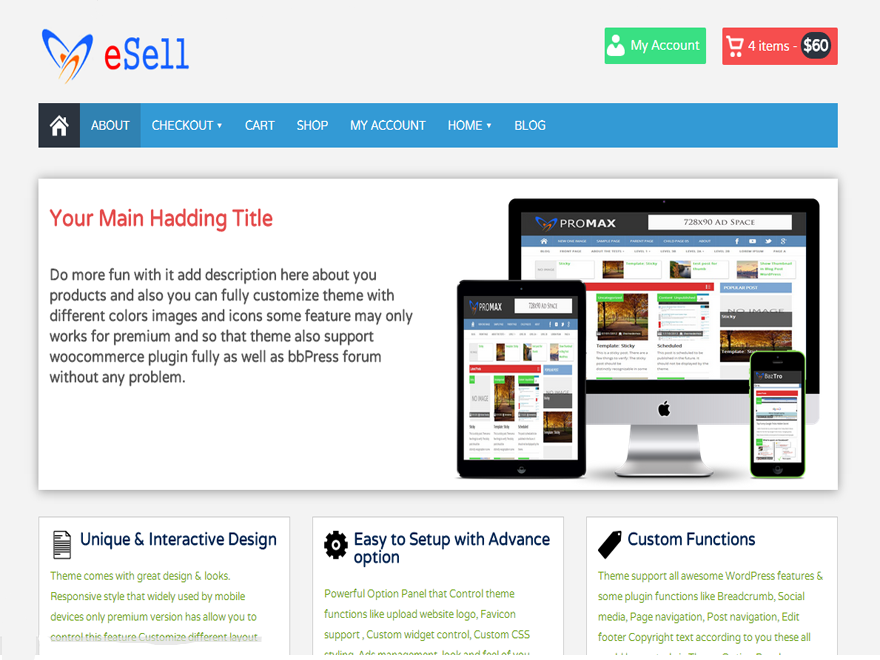 esell free wordpress woocommerce theme thiet ke web