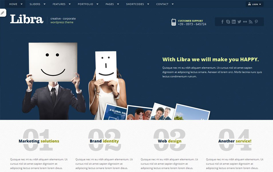 libra free portfolio wordpress theme thiet ke web