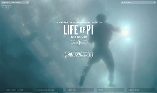 Video background trên website Life of PI